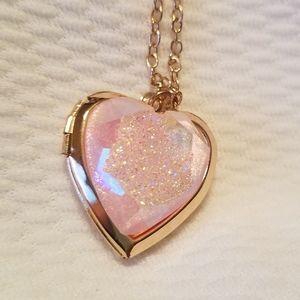 Heart shapes pink glitter geode locket necklace